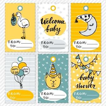 Divertidas tarjetas para la fiesta del bebé