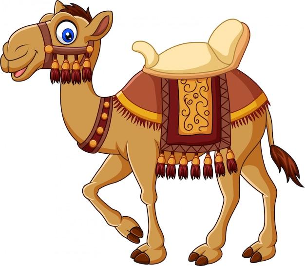 Divertido camello de dibujos animados con guarnicionería.