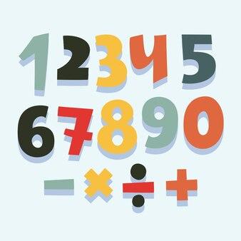 Divertido, caricatura, colorido, conjunto, de, números