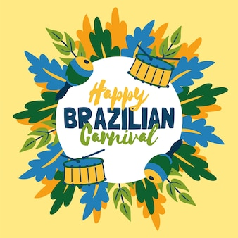 Divertido carnaval brasileño dibujado a mano