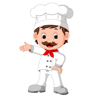 Divertido chef de dibujos animados buena posando