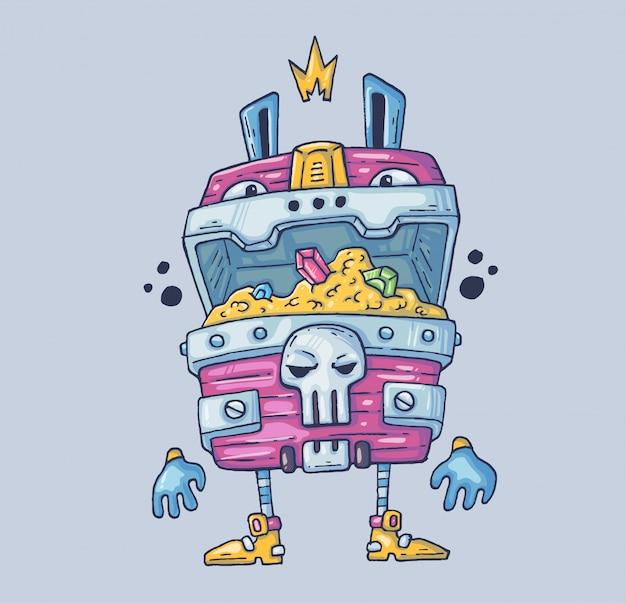 Divertido cofre del tesoro. ilustración de dibujos animados carácter en el estilo gráfico moderno.