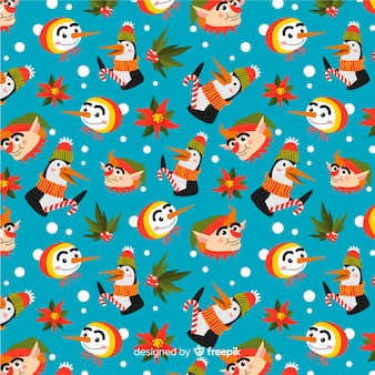 Divertido colorido patrón de navidad