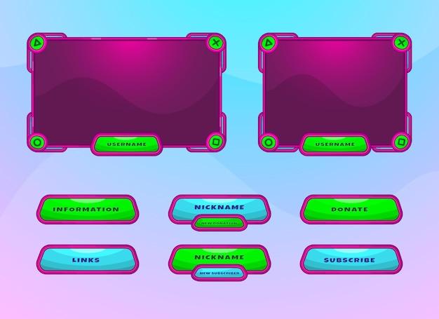 Divertido conjunto de diseño de superposición de borde de twitch y panel de menú