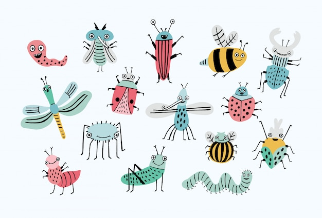 Divertido conjunto de errores. colección de insectos de dibujos animados feliz. colorida ilustración dibujada a mano.