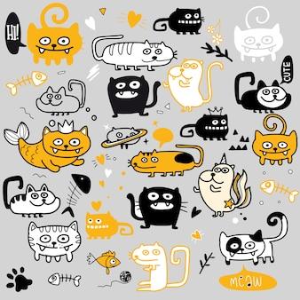 Divertido conjunto de gatos doodle. ilustración dibujada a mano