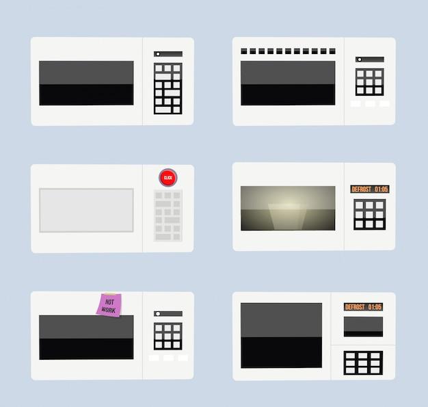 Divertido conjunto de microondas de dibujos animados.