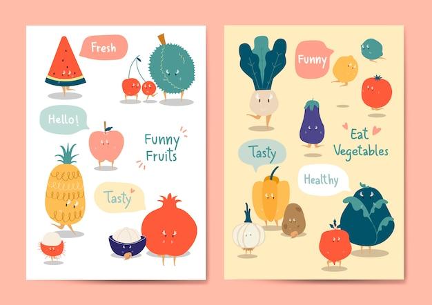 Divertido conjunto de vectores de frutas y verduras