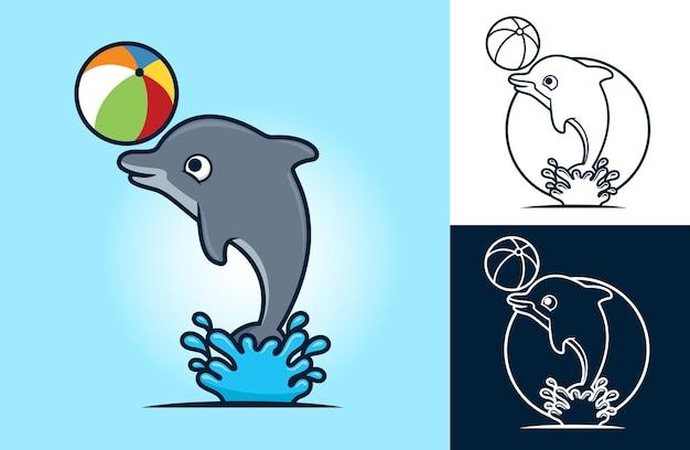 Divertido delfín jugando a la pelota. ilustración de dibujos animados en estilo de icono plano