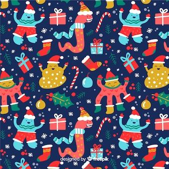 Divertido diseño plano patrón de navidad
