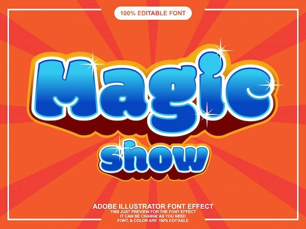 Divertido espectáculo de magia letras efecto de fuente tipografía editable