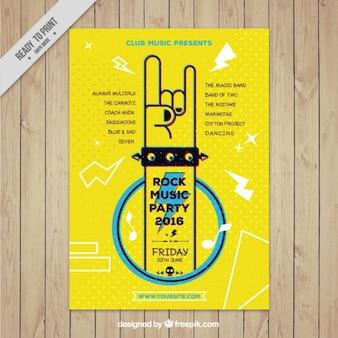 Divertido folleto amarillo de fiesta de rock