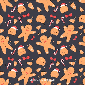 Divertido fondo de patrón de pan de jengibre de navidad