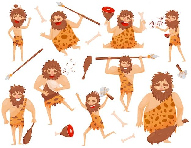 Divertido hombre prehistórico de la edad de piedra en diferentes situaciones, personaje de dibujos animados de hombres de las cavernas primitivo ilustración aislado en un fondo blanco