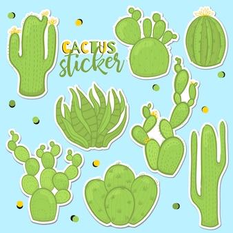 Divertido juego de cactus para pegatinas.