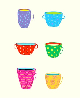 Divertido juego de tazas de vajilla para té o café y otras bebidas, doodle de colores brillantes.