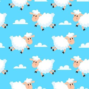 Divertido lanudo de ensueño nubes baa cordero o oveja dibujos animados patrón de tela sin costura