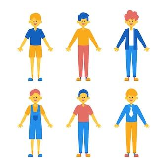 Divertido y lindo conjunto de niños con diferentes ropas.