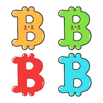 Divertido, lindo, feliz, bitcoin, personajes, paquete, conjunto