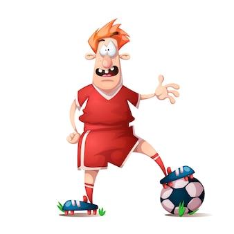 Divertido, lindo jugador de fútbol de dibujos animados.