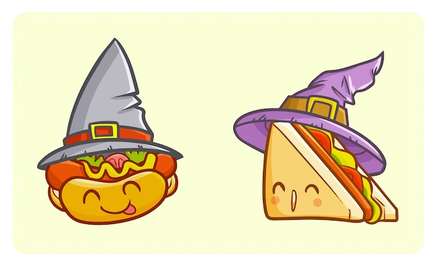 Divertido y lindo kawaii hot dog y sándwich con sombrero de bruja para halloween.
