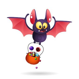 Divertido lindo murciélago llevando golosinas