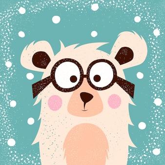 Divertido, lindo oso con gafas para imprimir camiseta.
