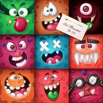 Divertido, lindo personaje de monstruo. ilustración de halloween