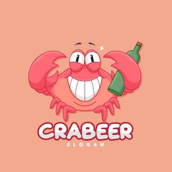 Divertido logo de cangrejo rojo trae una botella de cerveza.