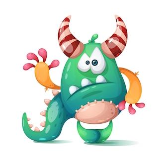 Divertido monstruo de dibujos animados lindo dino