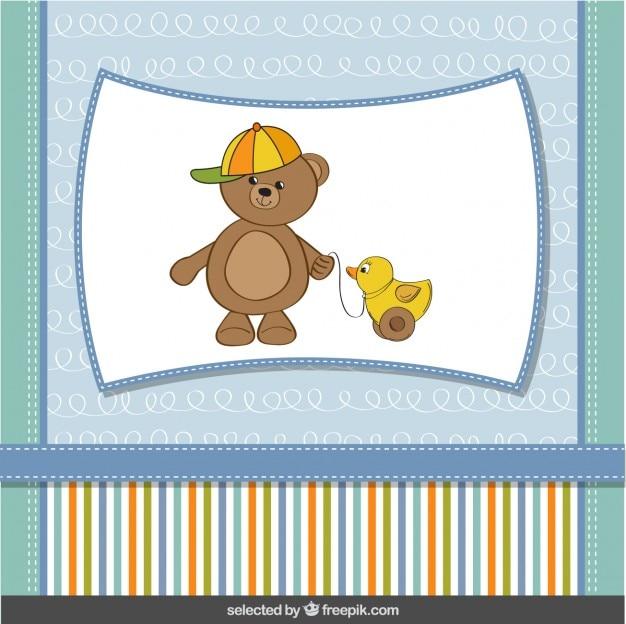 Divertido oso de peluche con pato de juguete, tarjeta de bienvenida del bebé