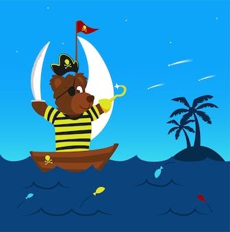 Divertido oso pirata en su barco navegando el mar llegando a la tierra para la aventura