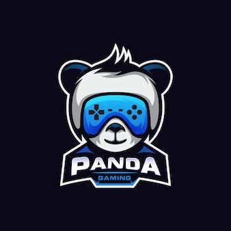 Divertido panda gaming logo esport