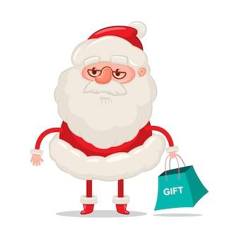 Divertido papá noel con bolsa de compras personaje de dibujos animados de navidad sobre fondo blanco.