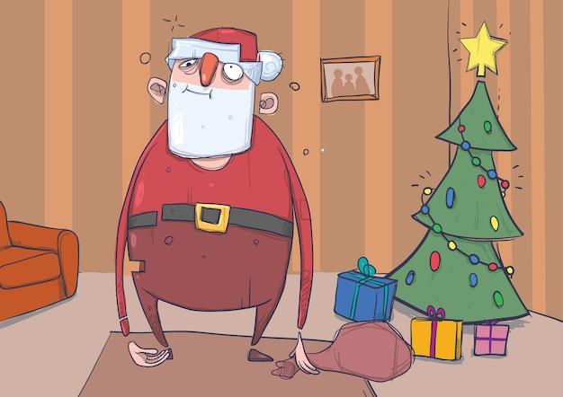 Divertido papá noel borracho con una bolsa se encuentra en una habitación con árbol de navidad decorado y regalos.