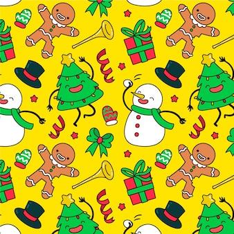 Divertido papel tapiz de navidad patrón de decoración