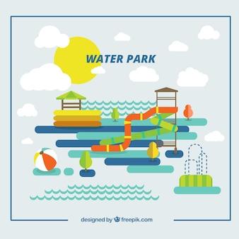 Divertido parque de atracciones en diseño plano