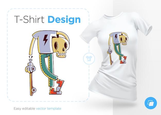 Divertido patinador esqueleto elegante ilustración de pato y diseño de camiseta