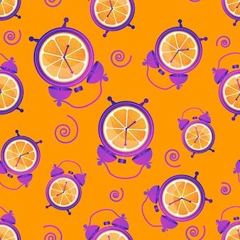 Divertido patrón sin costuras con naranjas y despertadores hora del desayuno despierta buenos días