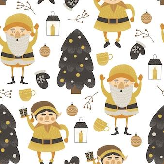 Divertido patrón sin costuras de navidad con elfos