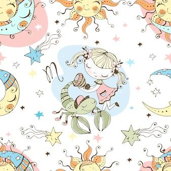 Un divertido patrón sin costuras para niños. signo zodiacal escorpio.