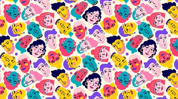 Divertido patrón sin costuras con rostros dibujados a mano de jóvenes