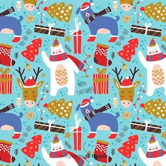 Divertido patrón de diseño plano de navidad