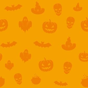 Divertido patrón de fondo transparente de los iconos de halloween.