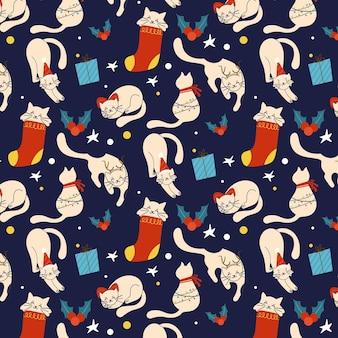 Divertido patrón navideño con gatos
