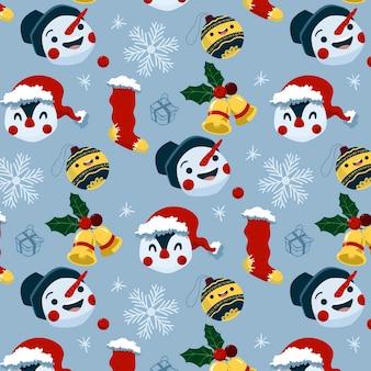Divertido patrón navideño con pingüinos