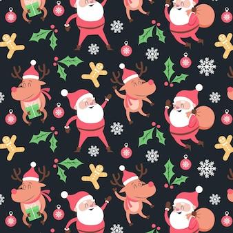 Divertido patrón navideño con santa claus