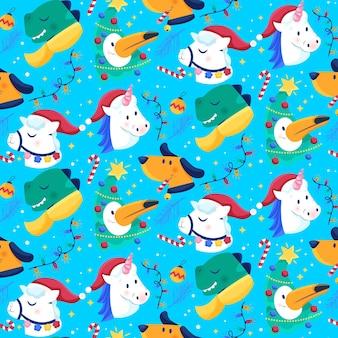 Divertido patrón navideño con unicornios