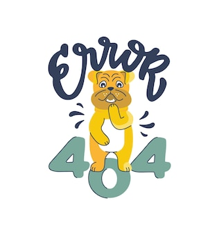 El divertido perro desnudo se está cubriendo. bulldog caricaturesco y una frase de letras: error 404.