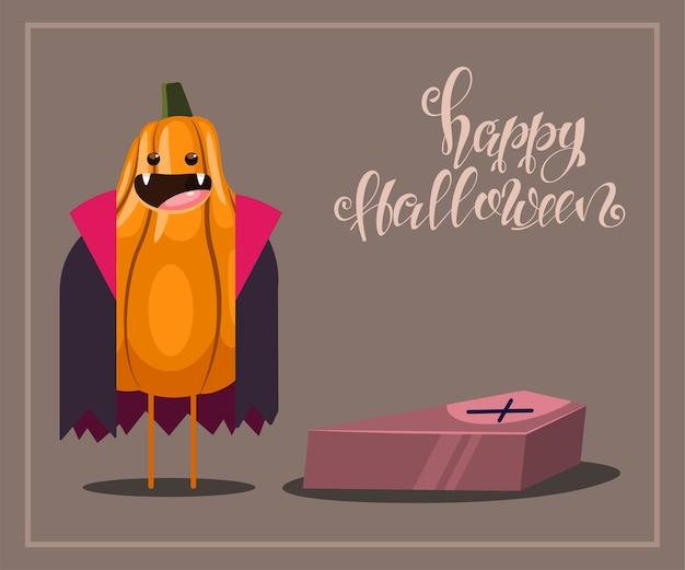 Divertido personaje de calabaza en un disfraz de vampiro con un ataúd y texto feliz halloween. ilustración de fondo.